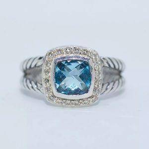 David Yurman silver blue topaz and diamond ring